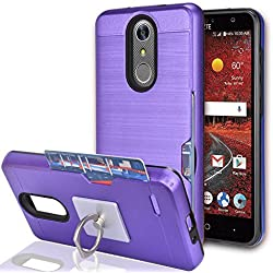 ZTE Grand X 4 / ZTE Blade Spark / Grand X4 Case With Phone Stand,Ymhxcy [Credit Card Slots Holder][Metal Brushed Texture] Dual Layer Shockproof Protective Cover Shell For ZTE Z956-LCK Purple