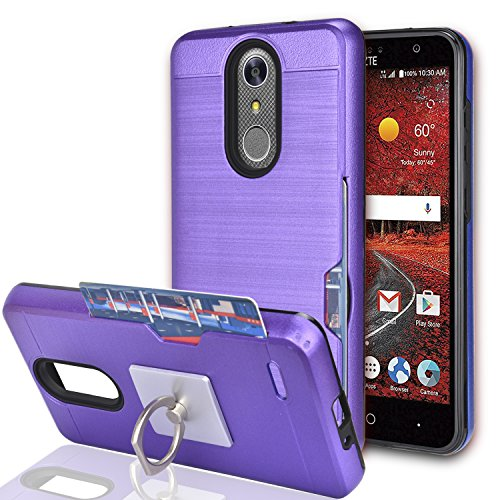 ZTE Grand X 4 / ZTE Blade Spark/Grand X4 Case with Phone Stand,Ymhxcy [Credit Card Slots Holder][Metal Brushed Texture] Dual Layer Shockproof Protective Cover Shell for ZTE Z956-LCK Purple