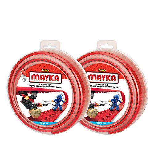 Mayka Toy Block Tape - 4 Stud - Red - 6 Feet - 2 Pack (Compatible with (Pirate Bay Tape)