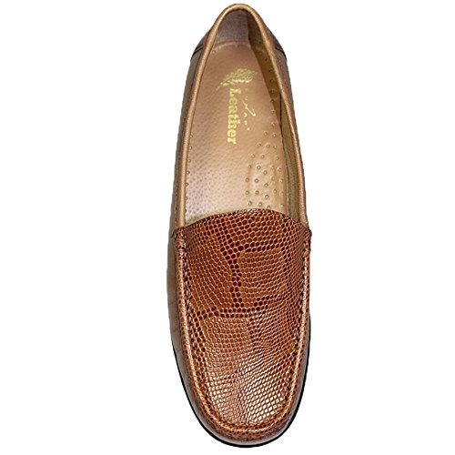 SAPPHIRE BOUTIQUE FLV002 Jenny Leather Moccasin Two Tone Loafer Snake Print Shoes Flats Tan KwImr5tf