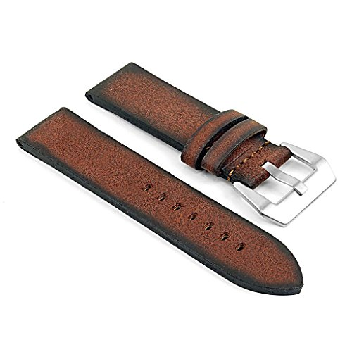 22 Mm Italian - DASSARI Opus Thick Vintage Italian Leather Watch Band Compatible with Panerai in Brown 22mm
