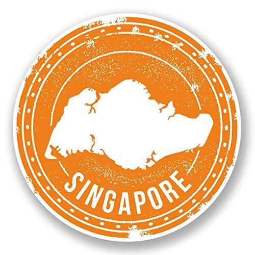 hiusan 2 x Singapore Vinyl Stickers Decals Travel Luggage Tag Lables Car Window Laptop Ipad Envenlop Stickers(10cm x 10cm) -