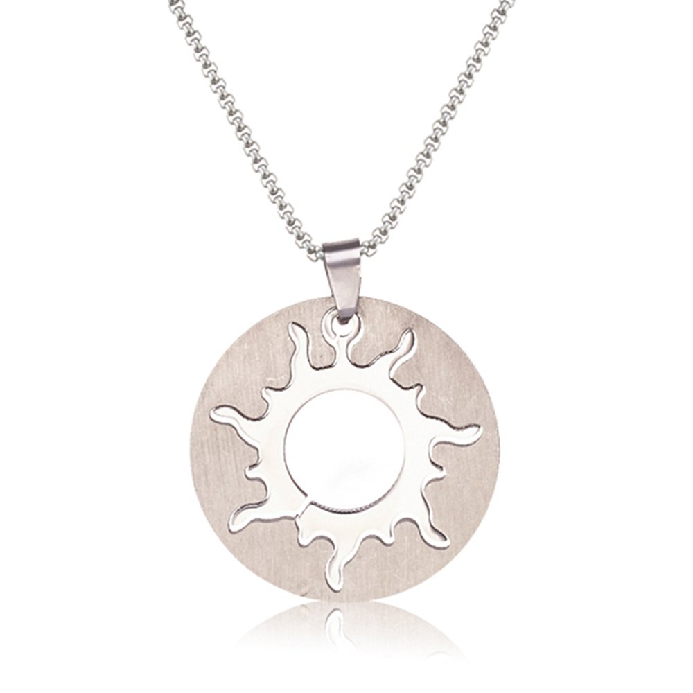 SJ SHI JUN Fashion Stainless Steel Round Sun Pendant Necklace Charm Punk Style 24 Inches