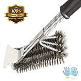 #6: Grill Brush and Scraper, ZOUTOG 3 in 1 Bristles Stainless Steel Cleaning Brush with BBQ Cooking Glove for Grill Cooking Grates
