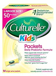 Culturelle Kids Packets Daily Probiotic Formula, One Per Day Dietary Supplement, Contains 100% Naturally Sourced Lactobacillus GG –The Most Clinically Studied Probiotic†, 50 Count