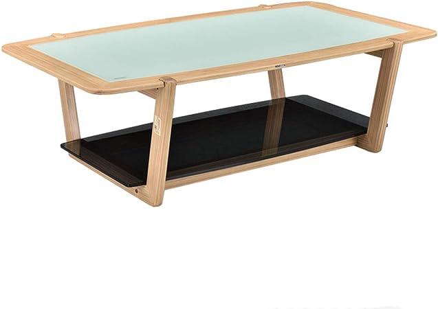 FUDIV Table Basse en Verre trempé Table en Bois Massif ...