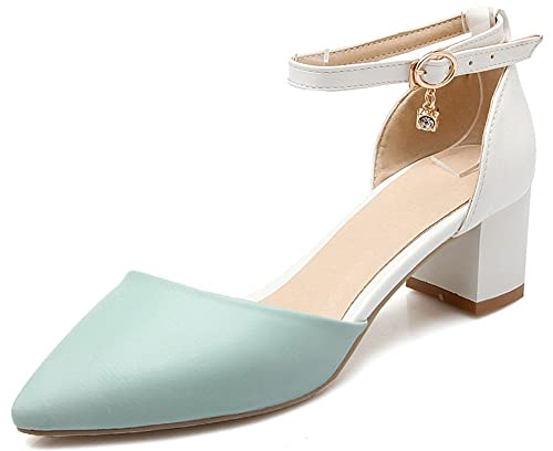 358998af379 IDIFU Women s Cute Color Block Ankle Strap Chunky Mid Heels Pendant Pumps  Shoes (Blue