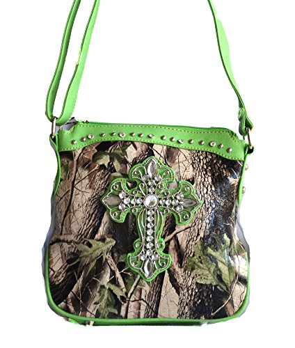 camo mossy oak rhinestone cross body messenger purse (green)