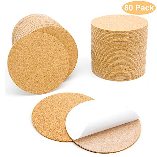 Round Self Adhesive - 80 Pcs Self-Adhesive Cork Round for DIY Coasters, 4