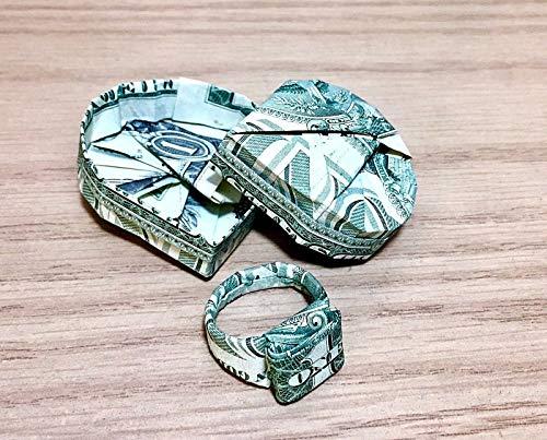 (Dollar bill Money Origami heart box ring Graduation novelty token gift)