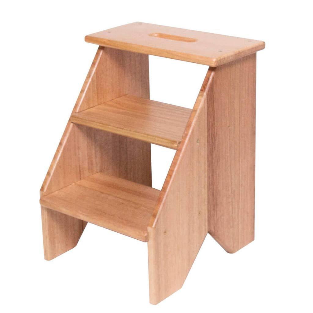 Fabian Woodworks Step Stool - Wooden (Tasmanian Oak) - 3 Steps - 17.5'' High - Black