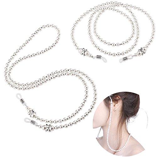 (2pcs Eyeglass Chain Small White Beaded Glasses Necklace Holder Strap Eyewear Retainer Lanyard)