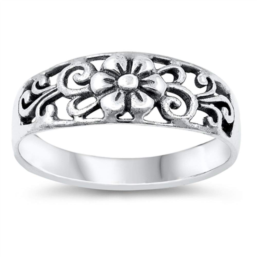 Princess Kylie Oxidized Sterling Silver Ornate Flower Filigree Ring