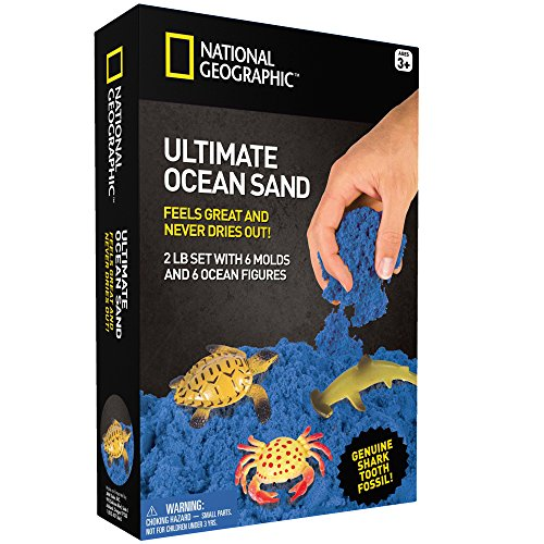 National Geographic Ultimate Ocean Play Sand - 2 LBS of Sand, 6 Molds, 6 Figures and Activity Tray