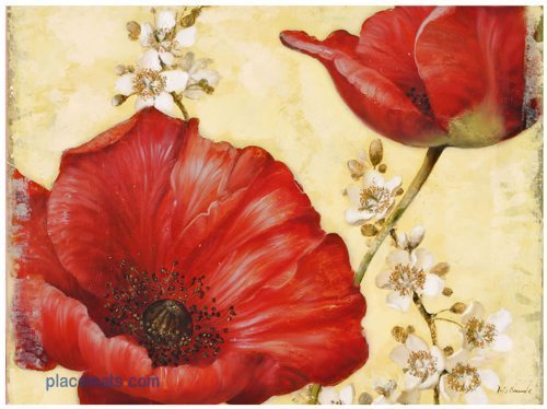 Pimpernel Poppies - Pimpernel Poppy de Villeneuve Placemats - Set of 4 (Large)