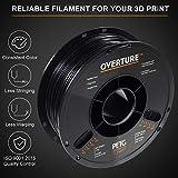 OVERTURE PETG Filament 1.75mm with 3D Build Surface 200 x 200 mm 3D Printer Consumables, 1kg Spool (2.2lbs), Dimensional Accuracy +/- 0.05 mm, Fit Most FDM Printer, Black