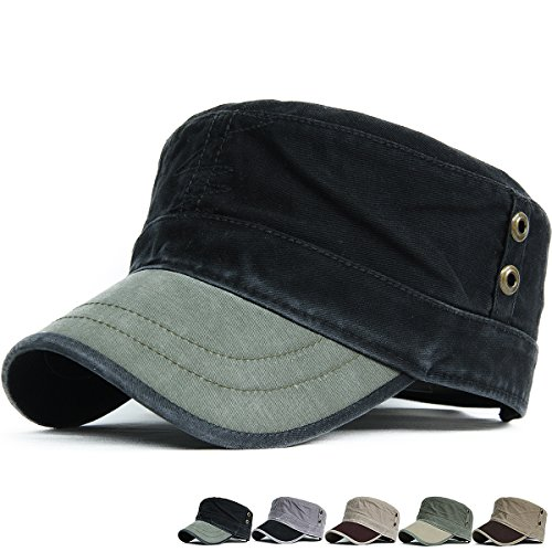 REDSHARKS Cadet Cap Military Army Flat Top Hat Adjustable Washed Cotton Studded (Vintage Army Hat)