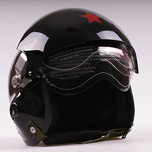Amazon.es: visores de DUAL negro Jet Pilot vuelo motocicleta Scooter casco abierto 3/4