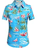 SSLR Women's Flamingos Floral Casual Short Sleeve Hawaiian Shirt (Small, Blue)