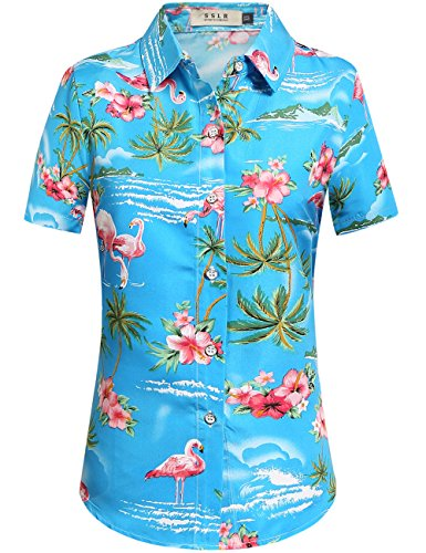 (SSLR Women's Flamingos Floral Casual Short Sleeve Hawaiian Shirt (Medium, Blue))