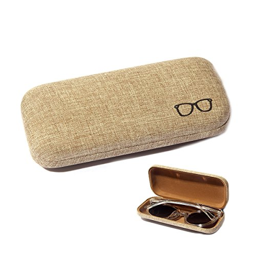 Hard Eyeglass Case Polemax Simple Vintage Business School Linen Fabric Eyewear Glasses Cases and Portable Pouch Bag - Sunglasses Case Slim