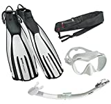 Mares Avanti Quattro Plus Fin Calypso Mask Dry Snorkel Set with Bag, White, Small
