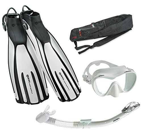 Mares Avanti Quattro Plus Fin Calypso Mask Dry Snorkel Set with Bag, White, X-Large