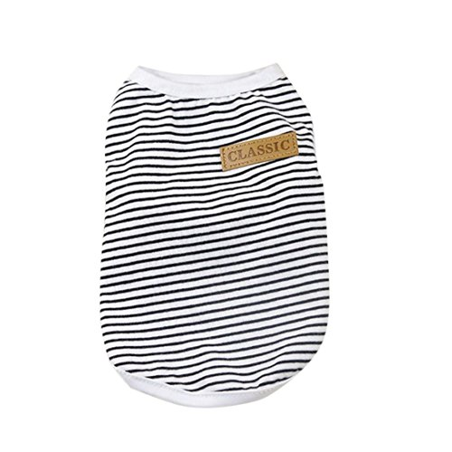 Pet Dog Puppy Summer Classic Striped Vest Tank Tops Shirt Clothes (S, Black) (White Tank Dog)