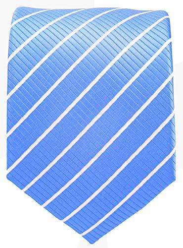 Light Brown Necktie - Striped Ties for Men - Woven Necktie - Baby Blue w/White