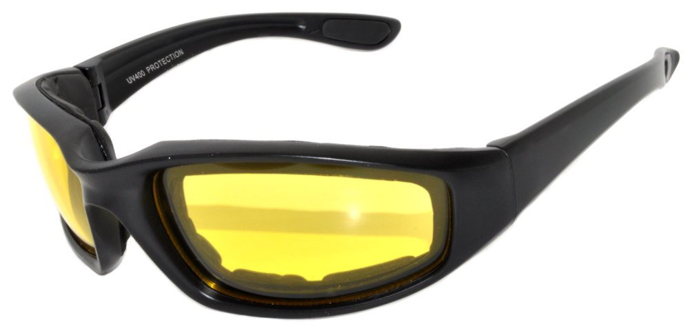 Black Motorcycle Padded Foam Glasses Yellow Lens for Outdoor Activity Sport OWL