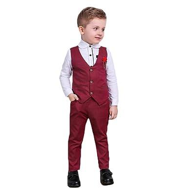 Baywell Traje de Traje de Caballero para niños, Chaqueta de niños Flores de Solapa en Traje Informal Chaleco + Camisa + Pantalones Conjunto de Ropa de ...