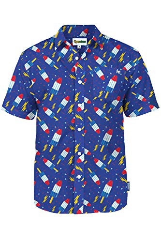 Men's Tropical Bomb Pop Grand Finale Aloha Shirt: Medium
