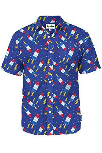 Men's Tropical Bomb Pop Grand Finale Aloha Shirt: Medium