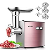ALTRA Electric Meat Grinder, Stainless Steel Meat Mincer & Sausage Stuffer,【2000W Max】ETL Approved with 3 Grinding Plates, 2 Blades, Sausage & Kubbe Kit, Home Kitchen & Commercial Use, Rose Gold