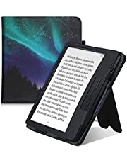 kwmobile Case Compatible with Kobo Libra H2O - Case PU Leather Cover with Magnet Closure, Stand, Strap, Card Slot - Aurora Turquoise/Blue/Black