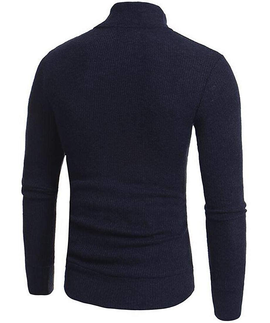 XiaoTianXinMen XTX Mens Fashion Zip Front Stand Collar Solid Warm Knitted Sweater