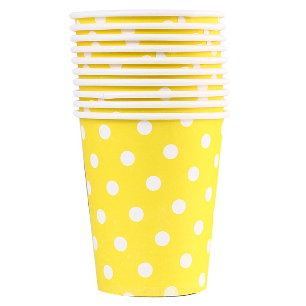 LAAT 10pcs Disposable Paper Cups One Time-use Cardboard Cups Colorful Coffee Drinking Mugs Cups Party Tableware Wedding Party Birthday DIY BBQ Supplies