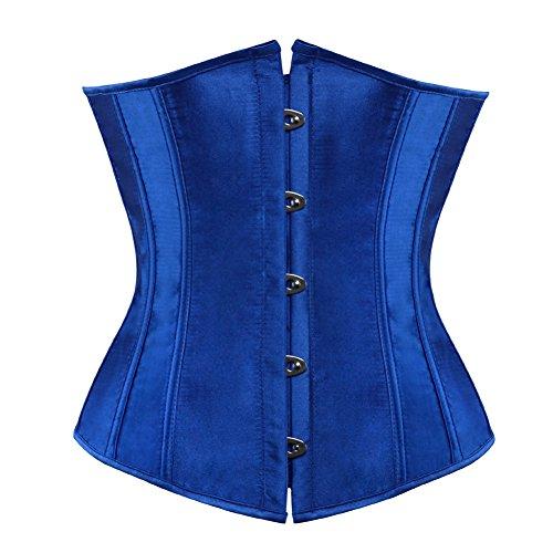 frawirshau Waist Cincher Corsets Women Lace up Boned Underbust Corset Bustier Bodyshaper Blue - Up Blue Lace Corset