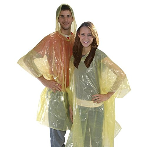 Economy Poncho - Leberna TM Disposable Poncho One Size Fit All with Attached Hood 20 Per Pack Assorted Color