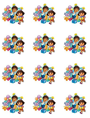 Dora the Explorer Edible Cupcake Toppers - Set of 12 -  Cake Topper Designs