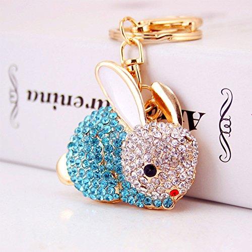 (Jzcky Shzrp Lovely Rabbit Shape Crystal Rhinestone Keychain Key Chain Sparkling Key Ring Charm Purse Pendant Handbag Bag Decoration Holiday Gift(Blue))