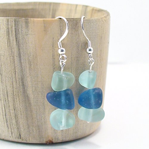 - Blue Shades Natural Sea Glass Earrings - Beach Jewelry - Sea Glass Jewelry Bohemian Chic 925 Sterling Silver