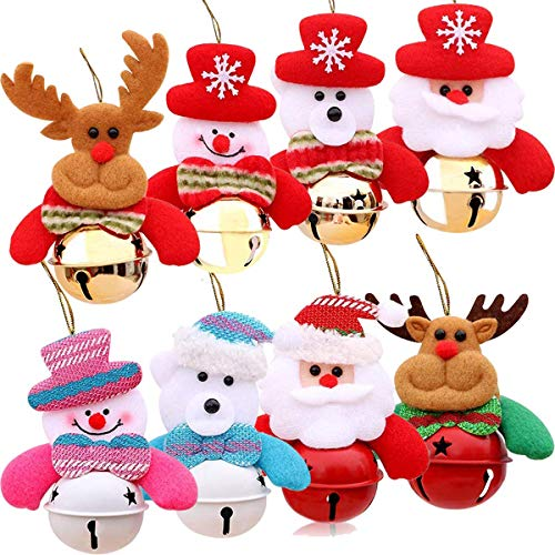 YANX 8 Pack Christmas Bells Decorations Ornaments Set, Christmas Tree Ornaments,Plush Snowman Santa Claus Polar Bear Elk Hanging Christmas Decoration for Xmas Home Party Holiday Decorative