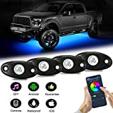 AMBOTHER LED RGB Rock Lights APP Control 4Pods Underglow Waterproof Neon Lighting Kit for Off Road Trucks Jeep ATV SUV Vehicle