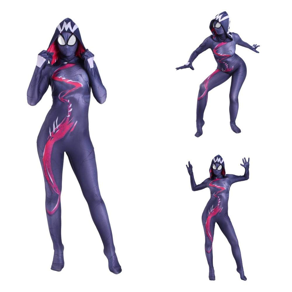 Adult-XXXL Cosplay Kleidung Venom Gwen Weibliche Spinne Cos Anime Kostüm Spiderman Parallel Universum Abendkleid Lycra Halloween Kleidung Für Erwachsene Kind Trägt