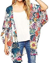Women's Sheer Chiffon Blouse Loose Tops Kimono Floral...