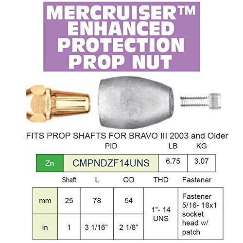 (Martyr CMPNDZF14UNS, Zinc Alloy Bravo 3 Mercury Prop Nut Assembly)