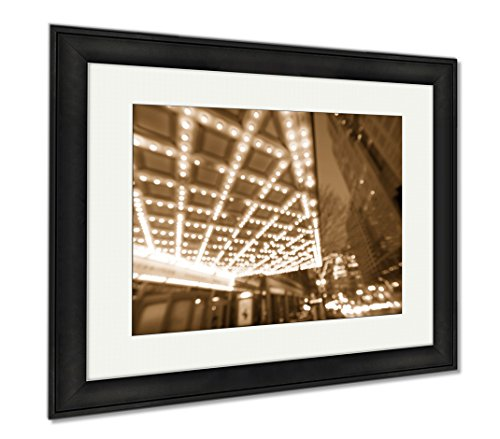 Ashley Framed Prints Portland Downtown Broadway Entertainment District At Night, Modern Room Accent Piece, Sepia, 34x40 (frame size), Black Frame, - Shopping Or Portland Downtown