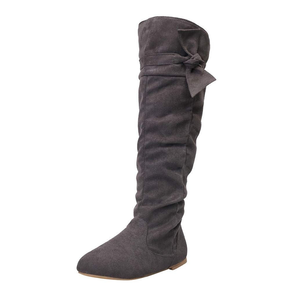 Dermanony Women's Flats Boots Casual Fold Knotted Knee-high Long Boots Flat Shoes Solid Color Zipper Fashion Boots Dark Gray by Dermanony _Shoes