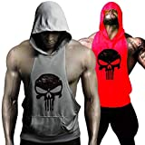 GZXISI Men's Gym Bodybuilding Stringer Tank Top Muscle Workout Shirt Fitness Sleeveless Vest (2 Pack:Red Hoodie,Gray Hoodie, Medium)